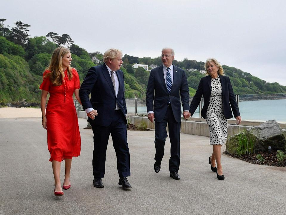 Jill Biden said it was 'wonderful to spend some time with Carrie Johnson and her son, Wilfred'.  (POOL/AFP via Getty Images)