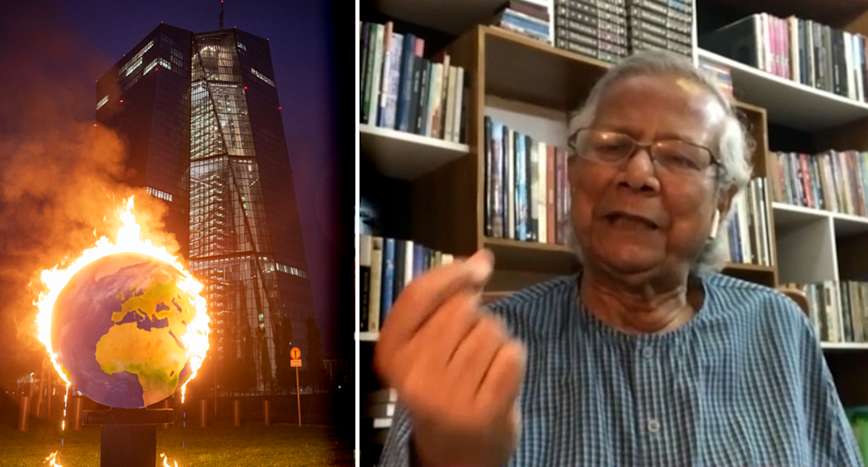 Left - A burning globe of the Earth in front of a building. Right - screenshot of Professor Yunus.