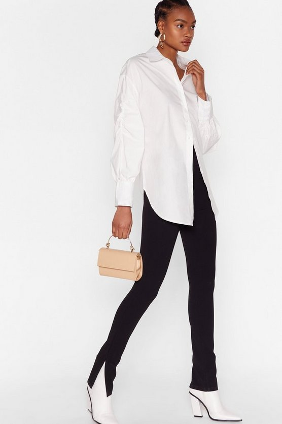 """<h3>Split-Seam Leggings<br></h3><br>The unexpectedly cool split-front hem detail is suddenly adorning every legging in every walk of life, from <a href=""""https://www.refinery29.com/en-us/black-leggings-outfit"""" rel=""""nofollow noopener"""" target=""""_blank"""" data-ylk=""""slk:lust-worthy street-style looks"""" class=""""link rapid-noclick-resp"""">lust-worthy street-style looks</a> to our <a href=""""https://www.refinery29.com/en-us/affordable-fashion-beauty-home-products-under-100#slide-11"""" rel=""""nofollow noopener"""" target=""""_blank"""" data-ylk=""""slk:very own shopping carts"""" class=""""link rapid-noclick-resp"""">very own shopping carts</a>. Nothing says """"These might be pants"""" like some sophisticated, on-trend tailoring.<br><br><strong>NastyGal</strong> Slit Down Honey High-Waisted Pants, $, available at <a href=""""https://go.skimresources.com/?id=30283X879131&url=https%3A%2F%2Fwww.nastygal.com%2Fslit-down-honey-high-waisted-pants%2FAGG55519-105-14.html"""" rel=""""nofollow noopener"""" target=""""_blank"""" data-ylk=""""slk:NastyGal"""" class=""""link rapid-noclick-resp"""">NastyGal</a>"""