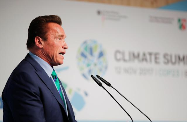 Former California Gov. Arnold Schwarzenegger, a Republican, speaksduring the U.N. Climate Change Conference. (Wolfgang Rattay/Reuters)