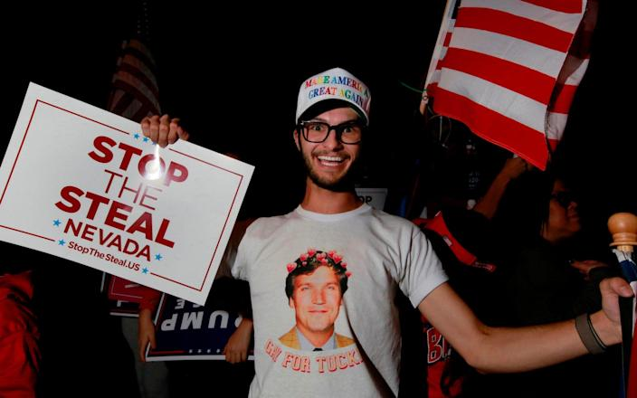 Donald Trump supporter protesting in the days after the November 3 election - AFP