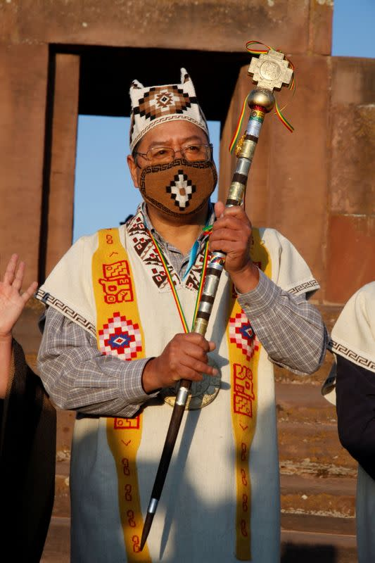Bolivia's President-elect Luis Arce is honoured with an indigenous ceremony at the ancient site of Tiwanaku