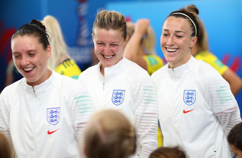NICE, FRANCE - JULY 06: Ellen White of England speaks with her mascot in the tunnel prior to the 2019 FIFA Women's World Cup France 3rd Place Match match between England and Sweden at Stade de Nice on July 06, 2019 in Nice, France. (Photo by Naomi Baker - FIFA/FIFA via Getty Images)