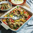 """<p>Spiced pitta bread strips add crunch to this healthy traybake. We've used shop-bought falafels to make this midweek meal extra speedy.</p><p><strong>Recipe: <a href=""""https://www.goodhousekeeping.com/uk/food/recipes/a35360276/falafel-tabbouleh-traybake/"""" rel=""""nofollow noopener"""" target=""""_blank"""" data-ylk=""""slk:Falafel and Tabbouleh Traybake"""" class=""""link rapid-noclick-resp"""">Falafel and Tabbouleh Traybake</a></strong></p>"""