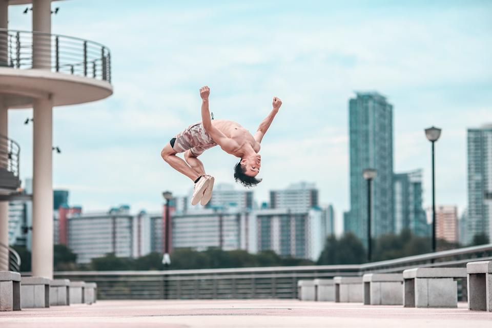 Peps finds that parkour is meditative and therapeutic to his well-being.