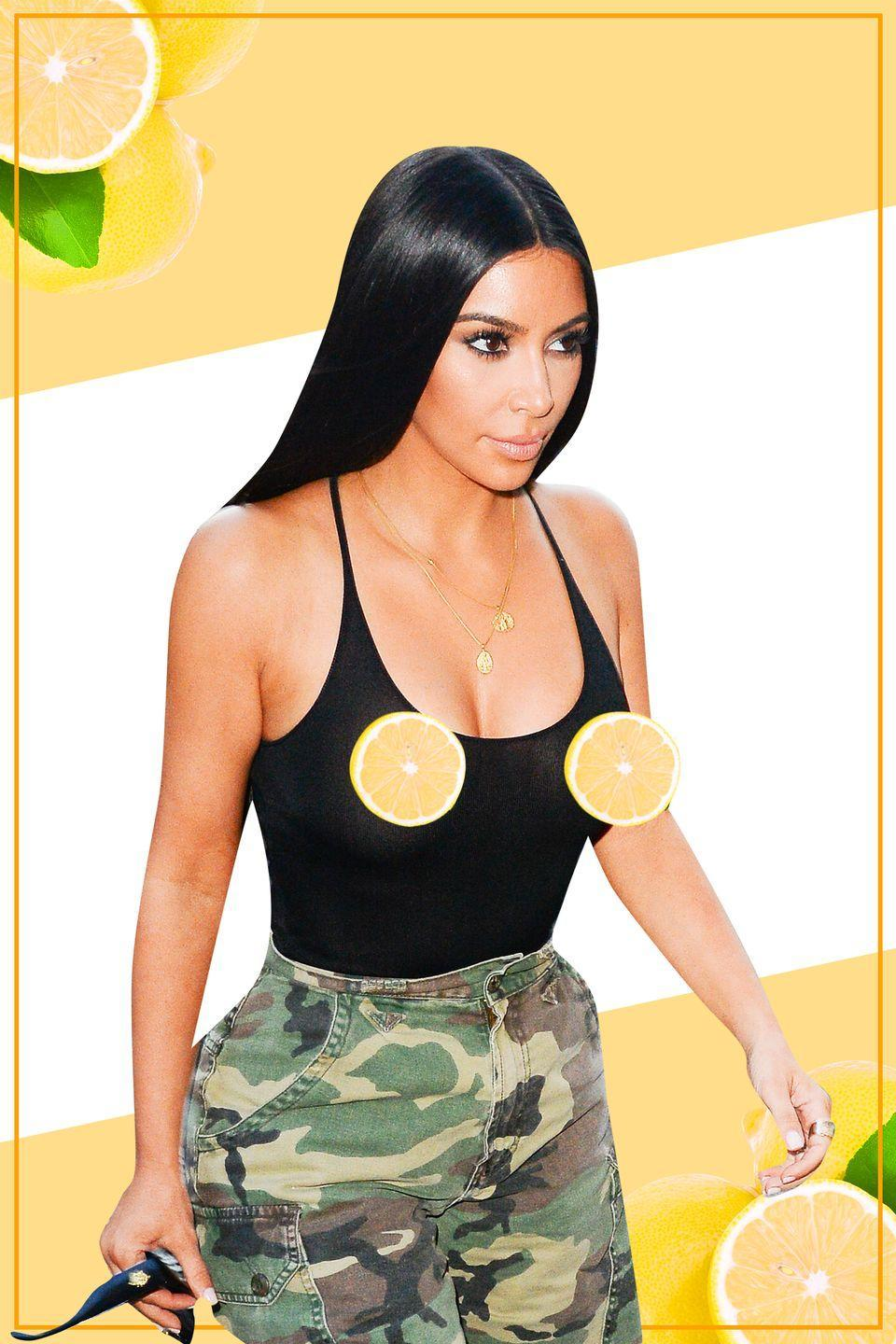 <p>Kim clearly loves a good nipple moment. The reality star and mogul casually strutted the streets of NYC in a see-through tank and camo cut-offs.</p>