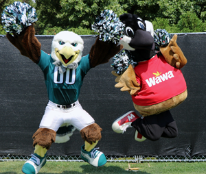 Wawa's Wally and Philadelphia Eagles mascot Swoop