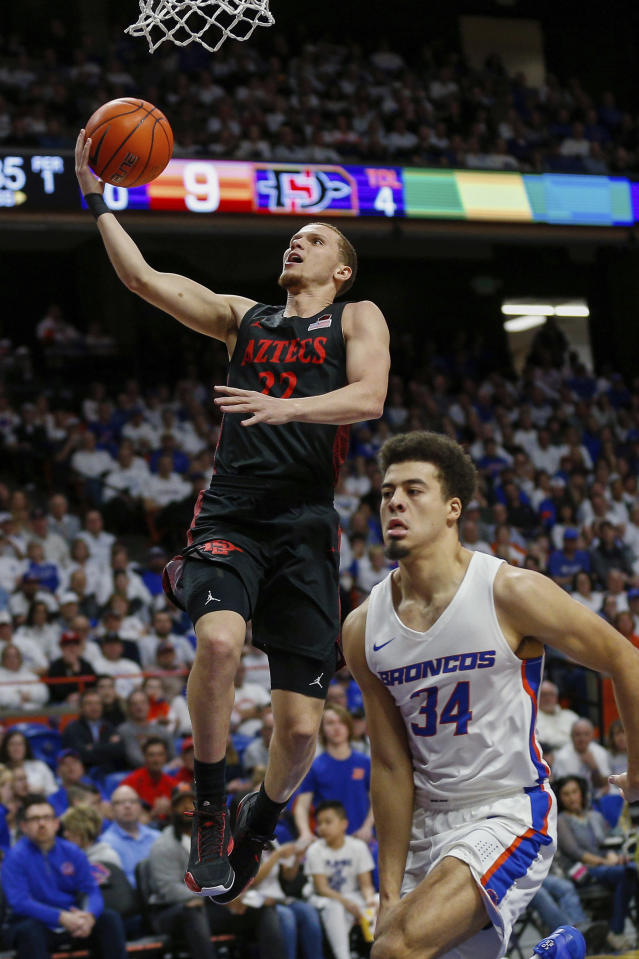San Diego State guard Malachi Flynn (22) lays the ball up on a breakaway against Boise State guard Alex Hobbs (34) during the first half of an NCAA college basketball game Sunday, Feb. 16, 2020, in Boise, Idaho. (AP Photo/Steve Conner)