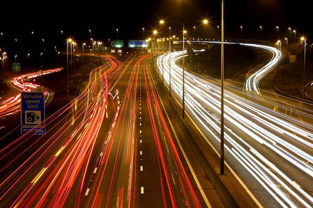 PLEASE NOTE: LONG EXPOSURE EFFECT WAS USED A view of the traffic moving around the Darenth Interchange on the M25 motorway near Dartford in Kent.