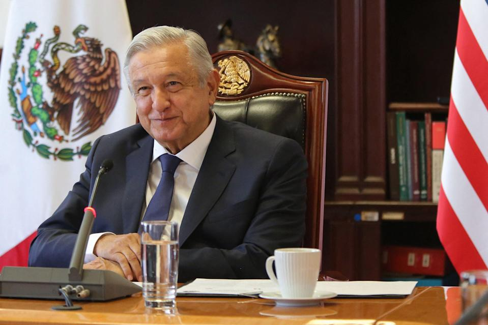 Handout photo released by the Mexican Presidency showing President Andres Manuel Lopez Obrador (L) during his virtual meeting with US Vice President Kamala Harris at the Palacio Nacional in Mexico City on May 07, 2021. (Mexican Presidency/AFP via Getty)