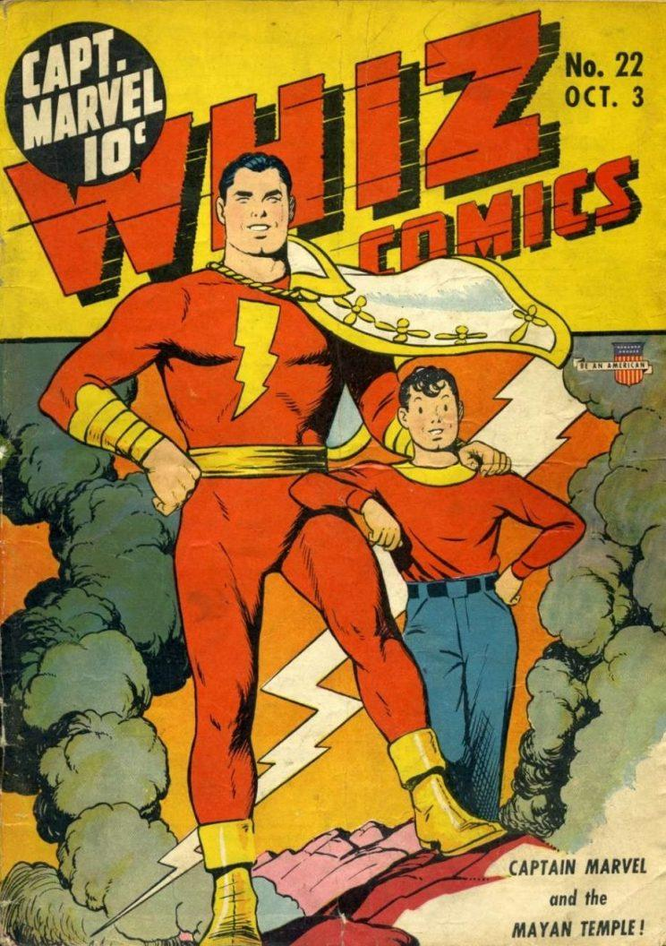 An early comic appearance by the then-Captain Marvel and his alter ego Billy Batson (credit: DC Comics)