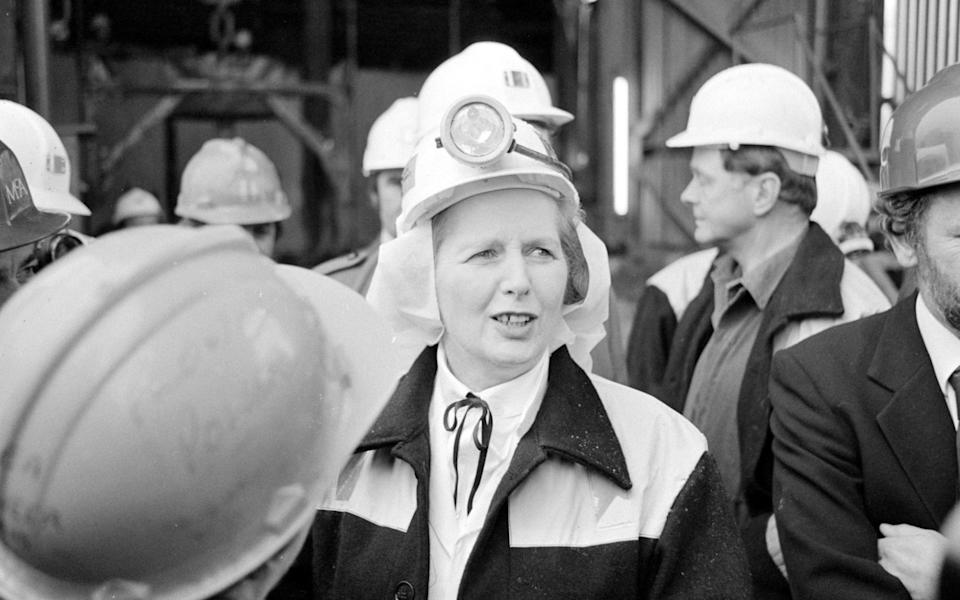 Margaret Thatcher at Wistow colliery in the Selby coalfield