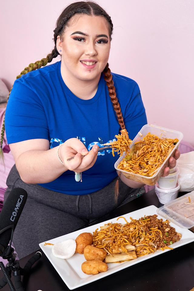 Rowley has gone part-time at her day job in order to pursue her mukbang ambition. [Photo: Caters]