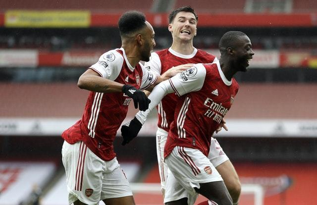 Nicolas Pepe (right) scored Arsenal's last Premier League goal from open play in the win over Sheffield United on October 4.