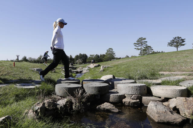 Danielle Kang of the United States walks on the second hole during the second round of the LPGA KEB Hana Bank Championship at Sky72 Golf Club in Incheon, South Korea, Friday, Oct. 12, 2018. (AP Photo/Lee Jin-man)
