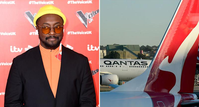 Black Eyed Peas star will.i.am (left) accused a Qantas flight attendant of racism. Pictured right is a stock image of Qantas planes.