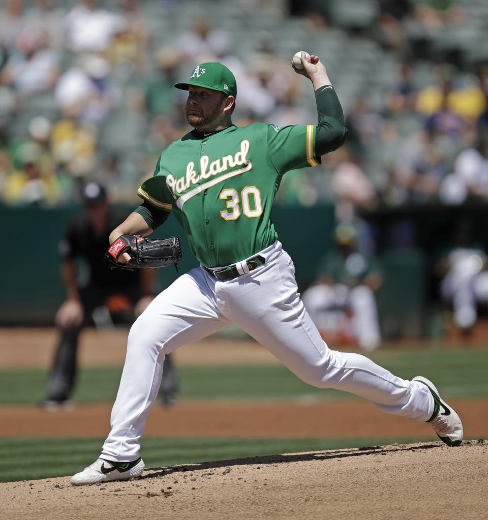 Oakland Athletics pitcher Brett Anderson works against the Houston Astros in the first inning of a baseball game Sunday, Aug. 18, 2019, in Oakland, Calif. (AP Photo/Ben Margot)