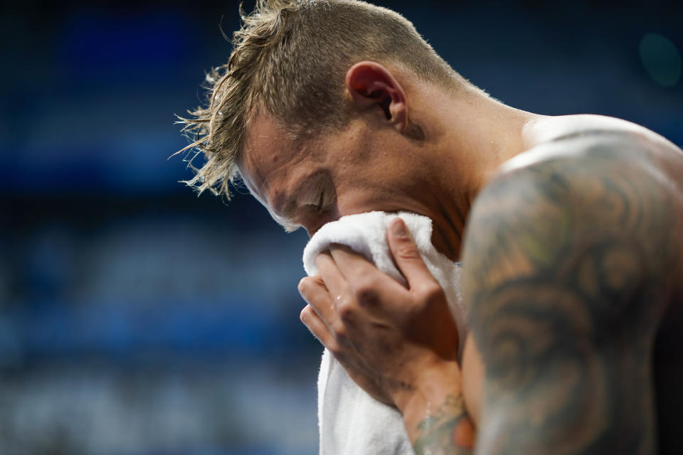 Caeleb Dressel, of United States, celebrates after winning the gold medal in the men's 4x100-meter medley relay final at the 2020 Summer Olympics, Sunday, Aug. 1, 2021, in Tokyo, Japan. (AP Photo/David Goldman)