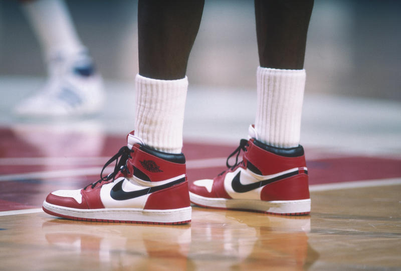 A pair of autographed game-worn Air Jordan 1s broke the all-time record for sneakers sold at auction. (Photo by Focus on Sport via Getty Images)