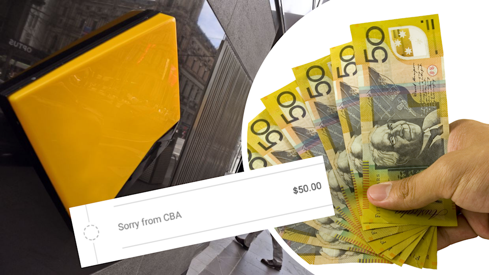 Pictured: Commonwealth Bank logo, Australian $50 notes, CBA's $50 apology transaction. Images: Getty, Twitter