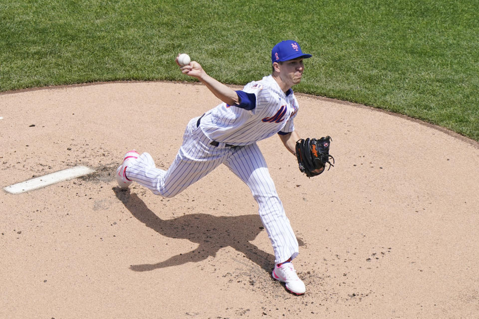 New York Mets starting pitcher Jacob deGrom delivers during the first inning of a baseball game against the Arizona Diamondbacks, Sunday, May 9, 2021, in New York. (AP Photo/Kathy Willens)