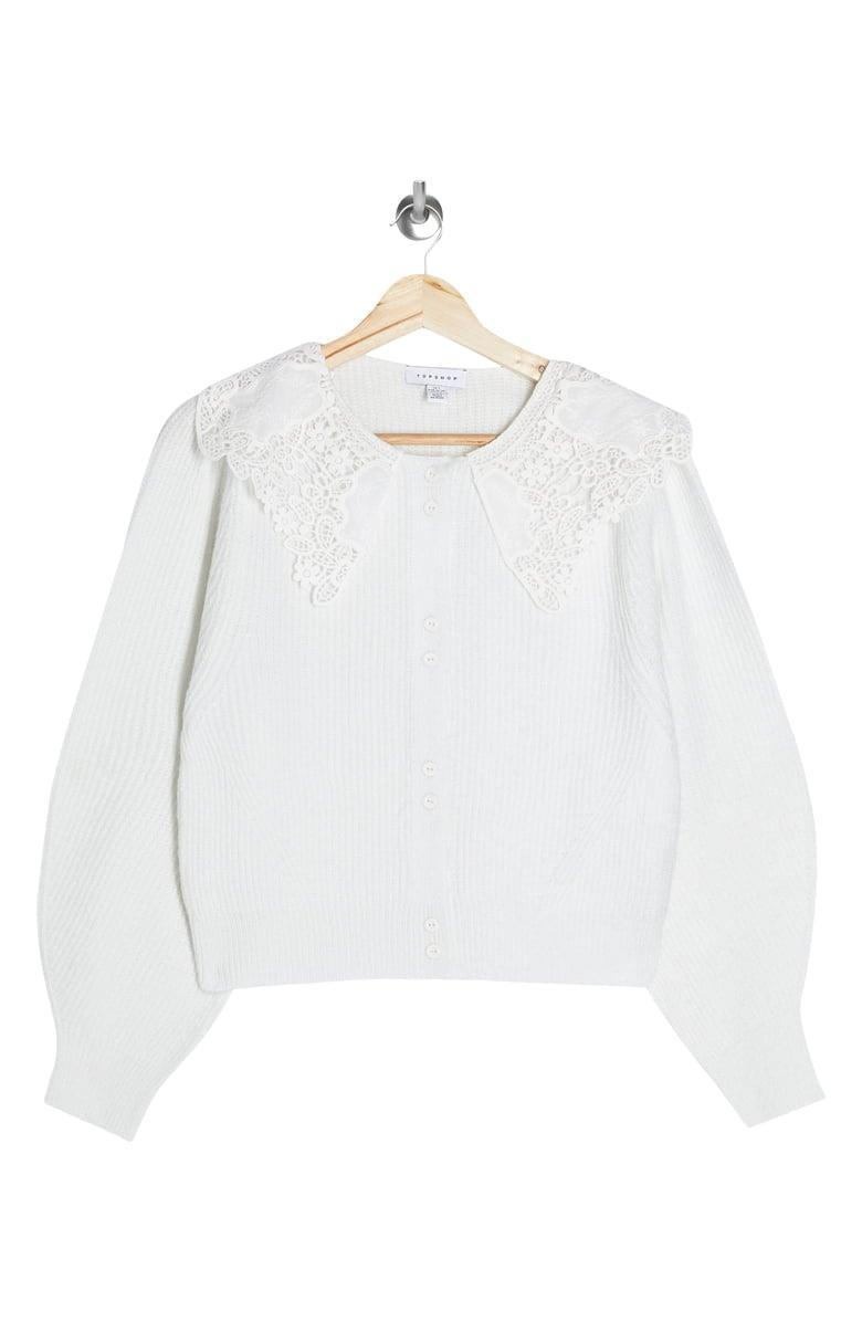 <p>This <span>Topshop Crochet Collar Cardigan</span> ($68) brings the drama in the best way possible.</p>