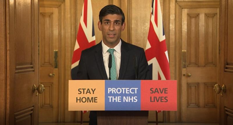 Chancellor Rishi Sunak speaks during a media briefing in Downing Street, London, on coronavirus (COVID-19). (Photo by PA Video/PA Images via Getty Images)