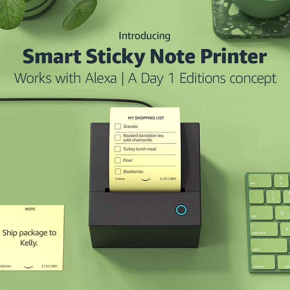 """<p>The <span>Smart Sticky Note Printer</span> ($115) will work with Alexa to create quick sticky notes, hands-free. Create shopping lists, to-do lists, quick reminders, even leave a heartfelt note, and more with your voice and this handy device. The best part, it's a thermal printer that requires no ink, so you don't even have to pay for ink or toner refills. To set up the Smart Sticky Note Printer, all you have to do is turn it on, connect it to your wi-fi and say, """"Alexa, discover my printer."""" </p>"""