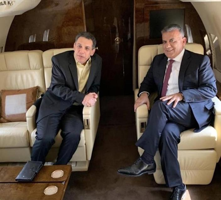 A handout picture released by Lebanon's General Security on June 11, 2019 shows General Security chief Abbas Ibrahim (R) aboard a plane with Nizar Zakka as they make their way to Beirut (AFP Photo/-)