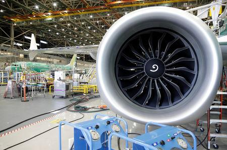 FILE PHOTO: An engine of Boeing's new 737 MAX-9 is pictured under construction at their production facility in Renton, Washington, U.S., February 13, 2017. REUTERS/Jason Redmond/File Photo