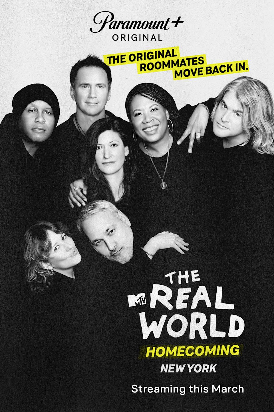 The Real World Season 1 cast, clockwise: Kevin Powell, Eric Nies, Julie Gentry, Heather B. Gardner, Andre Comeau, Norman Korpi, Becky Blasband. (Photo: MTV/Paramount+)