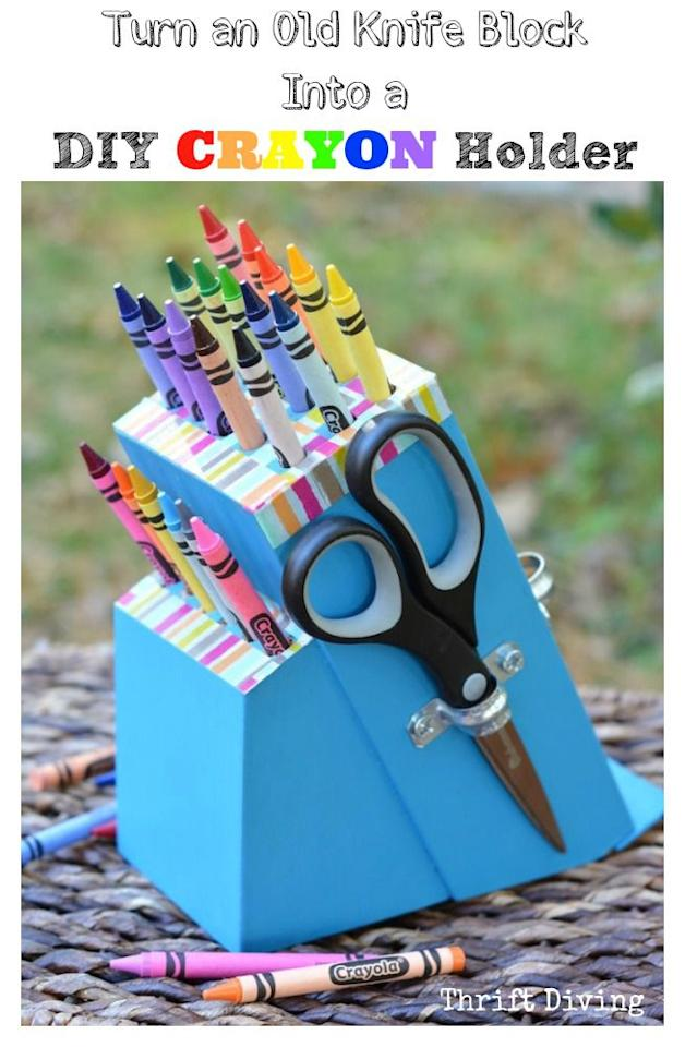 "<p>With the help of a drill (and some bold paint), this knife block gets a second life as a kid-friendly art station.</p><p><a href=""http://www.thriftdiving.com/diy-crayon-holder-from-a-knife-block/"" target=""_blank""><em>Get the tutorial at Thrift Diving »</em></a></p>"