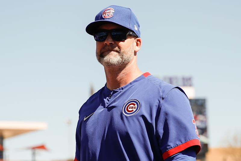 SCOTTSDALE, AZ - MARCH 03: Chicago Cubs manager David Ross (3) looks on before the spring training MLB baseball game between the Chicago Cubs and the Colorado Rockies on March 3, 2020 at Salt River Fields at Talking Stick in Scottsdale, Arizona. (Photo by Kevin Abele/Icon Sportswire via Getty Images)