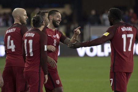 March 24, 2017; San Jose, CA, USA; United States forward Clint Dempsey (8) is congratulated after scoring a hat trick against the Honduras during the second half of the Men's World Cup Soccer Qualifier at Avaya Stadium. The United States defeated Honduras 6-0. Mandatory Credit: Kyle Terada-USA TODAY Sports