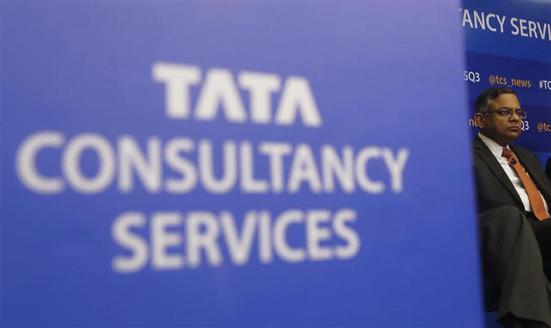 Tata Consultancy Services CEO Chandrasekaran listens to a question during a news conference in Mumbai