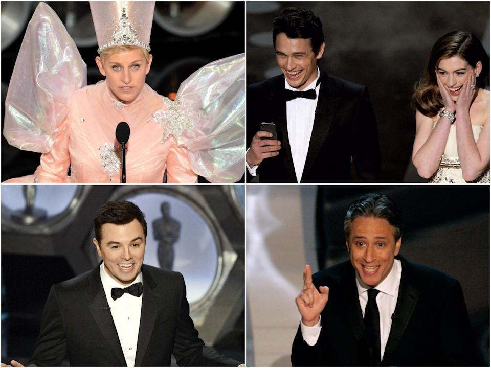 Clockwise from top right: Ellen DeGeneres, James Franco and Anne Hathaway, Jon Stewart, and Seth MacFarlane (Getty Images)