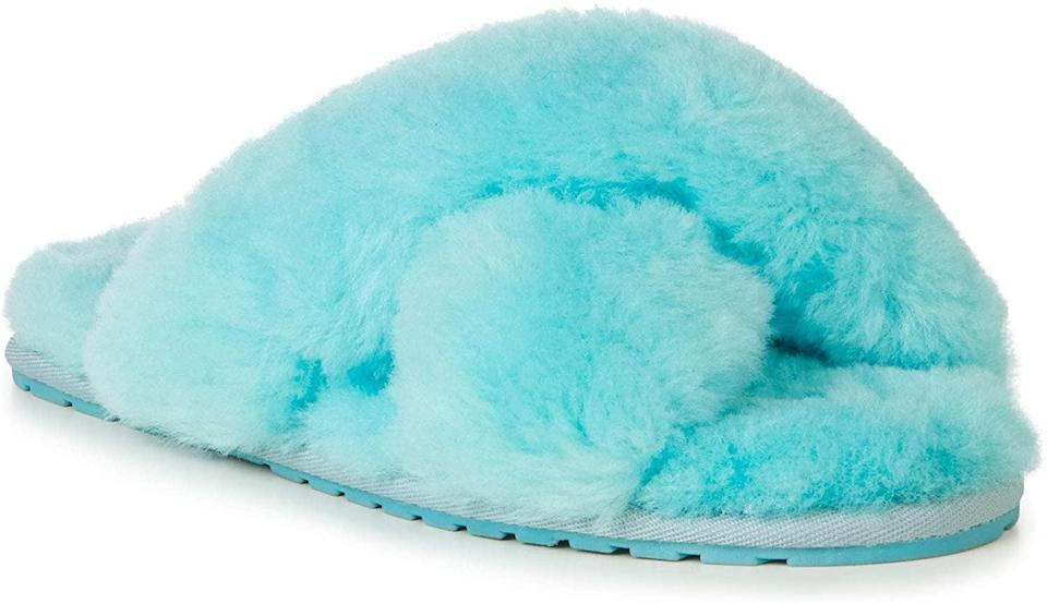 <p>We're loving these <span>EMU Australia Mayberry Sheepskin Slippers</span> ($60) in the vibrant aqua choice.</p>