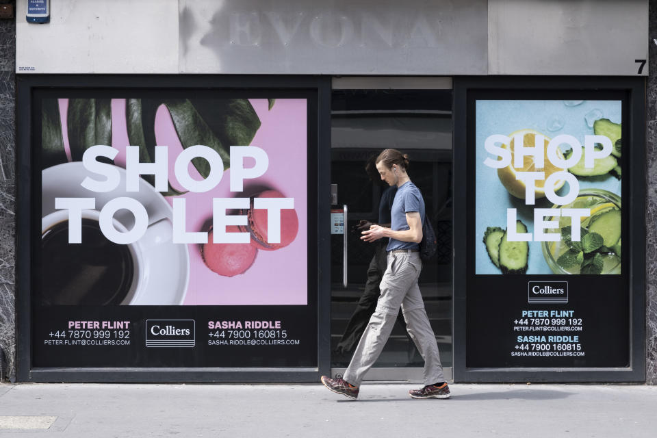 Empty retail space shop to let on Marylebone High Street on 10th August 2021 in London, United Kingdom. Marylebone High Street is a grand and upmarket shopping street in London. (photo by Mike Kemp/In Pictures via Getty Images)