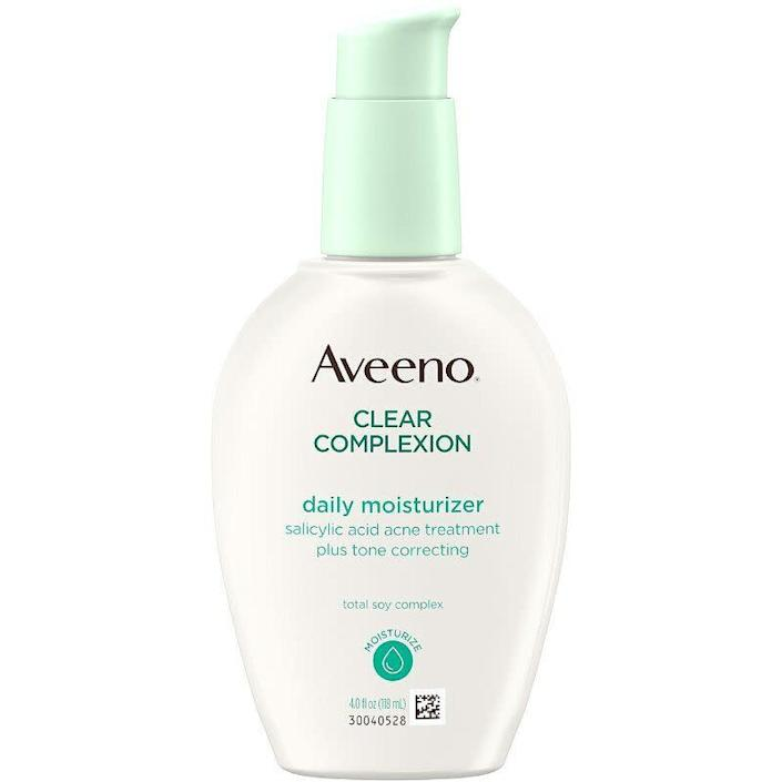 """For those with relatively normal skin, Lortscher recommends this Aveeno moisturizer that contains salicylic acid to help clear and prevent blemishes. The Total Soy Complex works to even skin tone and texture, a common pesky partner to breakouts. It&rsquo;s non-comedogenic, oil-free and hypoallergenic, so it won&rsquo;t cause more problems. <br><br><strong><a href=""""https://www.ulta.com/daily-moisturizer?productId=xlsImpprod640006"""" rel=""""nofollow noopener"""" target=""""_blank"""" data-ylk=""""slk:$18.99 from Ulta"""" class=""""link rapid-noclick-resp"""">$18.99 from Ulta</a></strong>"""