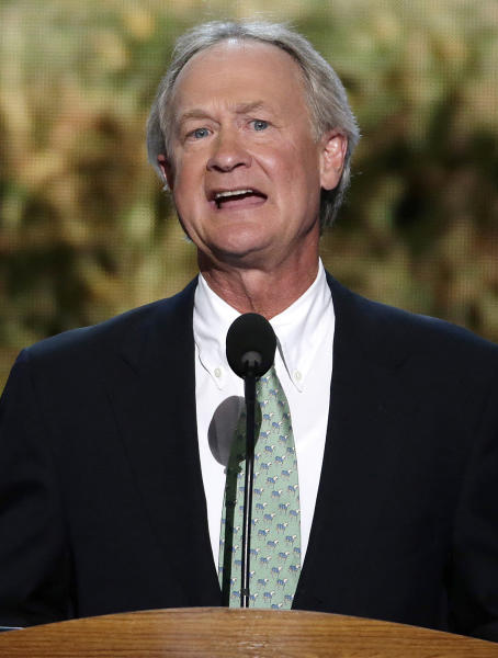 FILE - In this Sept. 4, 2012 file photo, Rhode Island Gov. Lincoln Chafee addresses the Democratic National Convention in Charlotte, N.C. Chafee said Wednesday, Sept. 4, 2013, he is not running for a second term, bowing out of what was expected to be a fierce primary in his new Democratic Party. (AP Photo/J. Scott Applewhite, File)