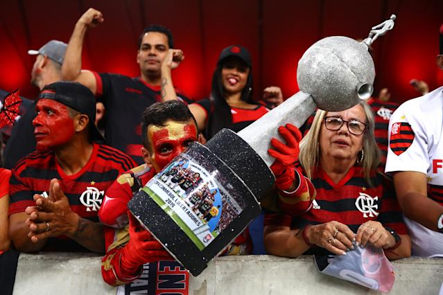 Torcida do Flamengo na Libertadores. Foto: Chris Brunskill/Fantasista/Getty Images