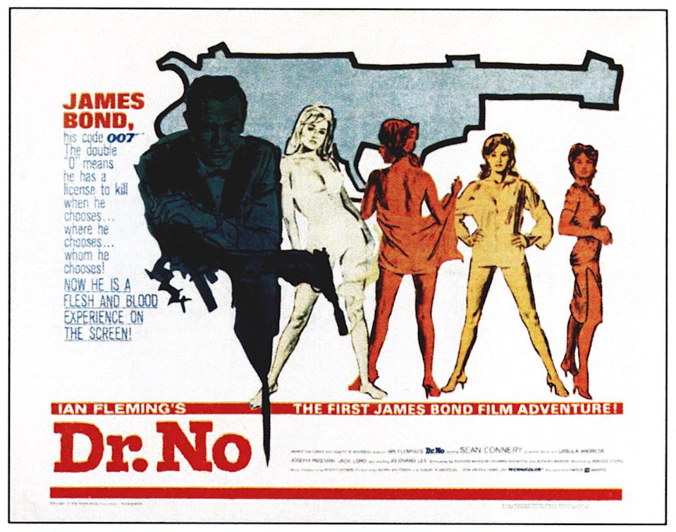 Dr. No, poster, far left: Sean Connery, 1962. (Photo by LMPC via Getty Images)
