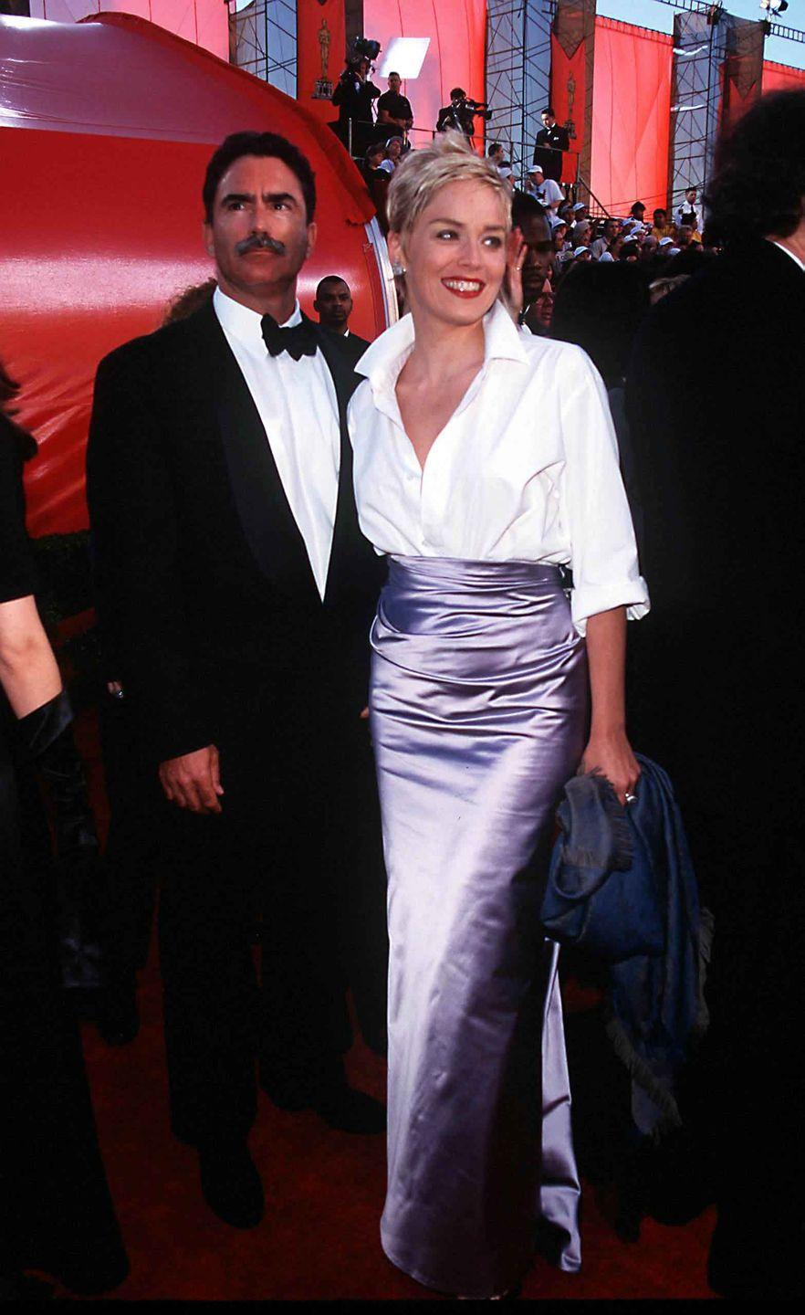 <p>Sharon Stone paired a lilac Vera Wang evening skirt with a Gap button-down.</p>