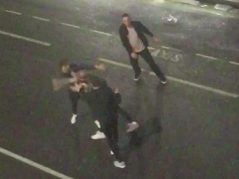 A man alleged to be Stokes appears to throw a punch that leaves another person on the floor (The Sun)