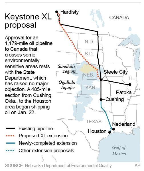 Map shows the Keystone pipeline proposed route; 2c x 4 inches; 96.3 mm x 101 mm;