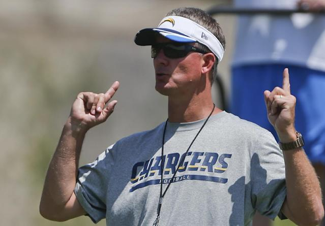 San Diego Chargers coach Mike McCoy gives his instructions during an NFL football organized team activity Monday, June 9, 2014, in San Diego. (AP Photo/Lenny Ignelzi)
