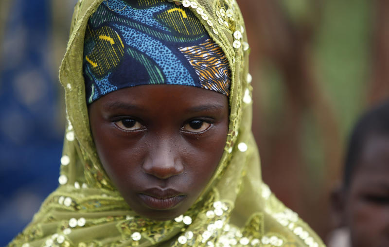 A girl from the Peul tribe stands in a village outside Bambari, Central African Republic. (Goran Tomasevic / Reuters)