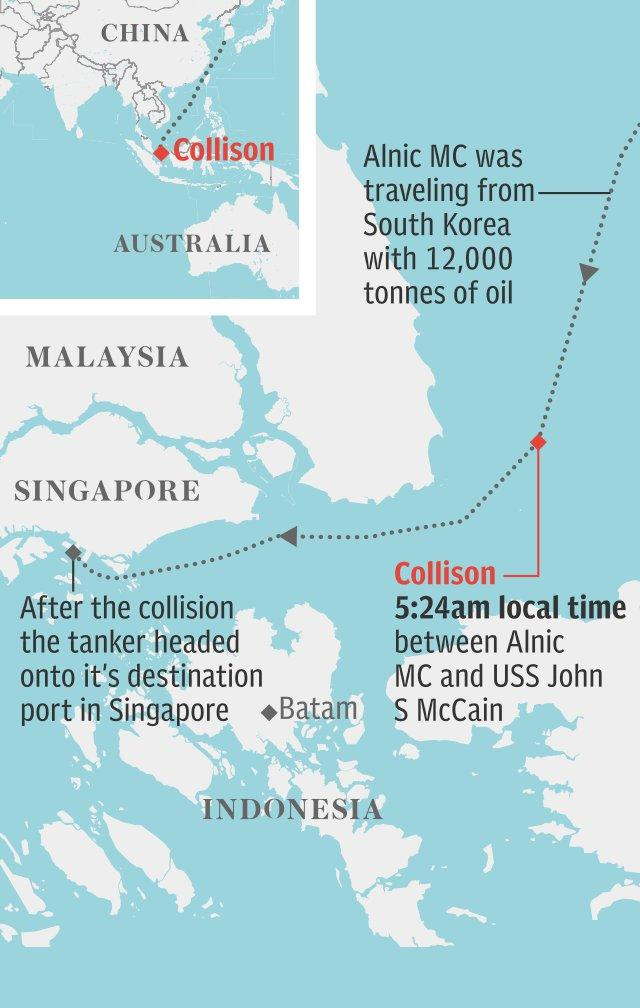 Map: USS John S. McCain collision