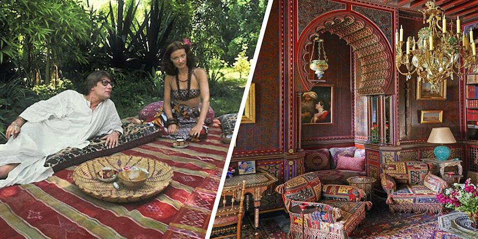 """<p>Yves Saint Laurent's famed <a href=""""https://www.elledecor.com/celebrity-style/celebrity-homes/a22590268/yves-saint-laurent-marrakech-home-villa-oasis/"""" rel=""""nofollow noopener"""" target=""""_blank"""" data-ylk=""""slk:Villa Oasis"""" class=""""link rapid-noclick-resp"""">Villa Oasis</a> is everything you'd imagine it to be. The Marrakech compound sits on six acres of highly-manicured gardens, with interiors that are praised for the ornate, hand-decorated walls, marble flooring, and more.</p>"""