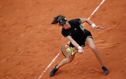 Britain's Johanna Konta plays a shot against Marketa Vondrousova of the Czech Republic during their semifinal match of the French Open tennis tournament at the Roland Garros stadium in Paris, Friday, June 7, 2019. - Credit: AP
